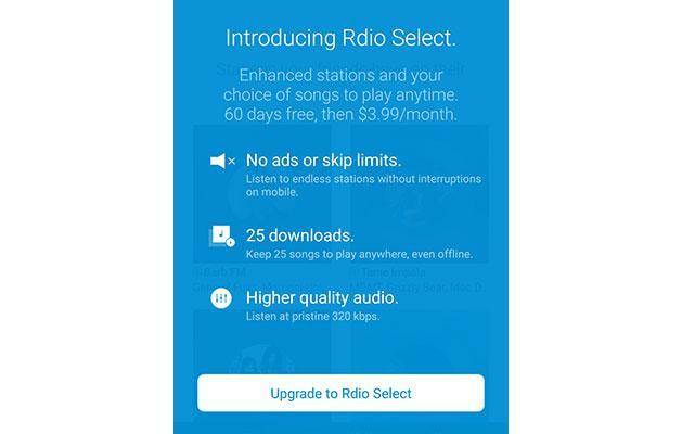 Rdio Select is a $4 monthly music streaming service (with limitations)
