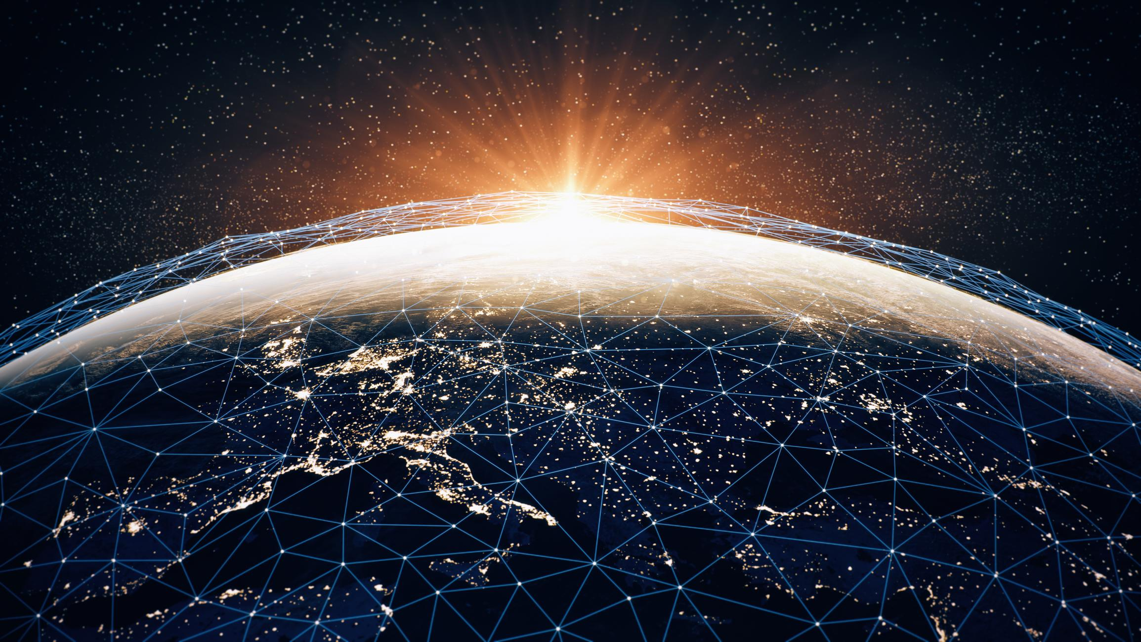 Global Communication Network (World Map Credits To NASA)