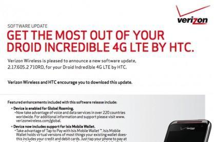 HTC Droid Incredible 4G LTE update to bring global roaming, Isis wallet