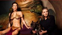 Carrie Fisher and Gary Posed With a Wax Slave Princess Leia