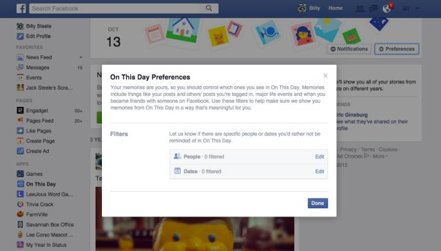 Facebook's 'On This Day' feature has controls to filter out sad times
