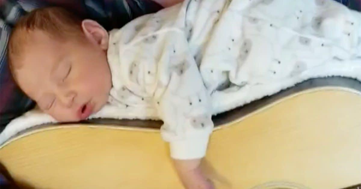 Missouri Dad Nestles Newborn Daughter on Top of Guitar to
