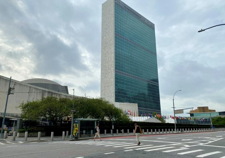 A nearly empty First Avenue outside the UN headquarters in New York on September 9, 2020