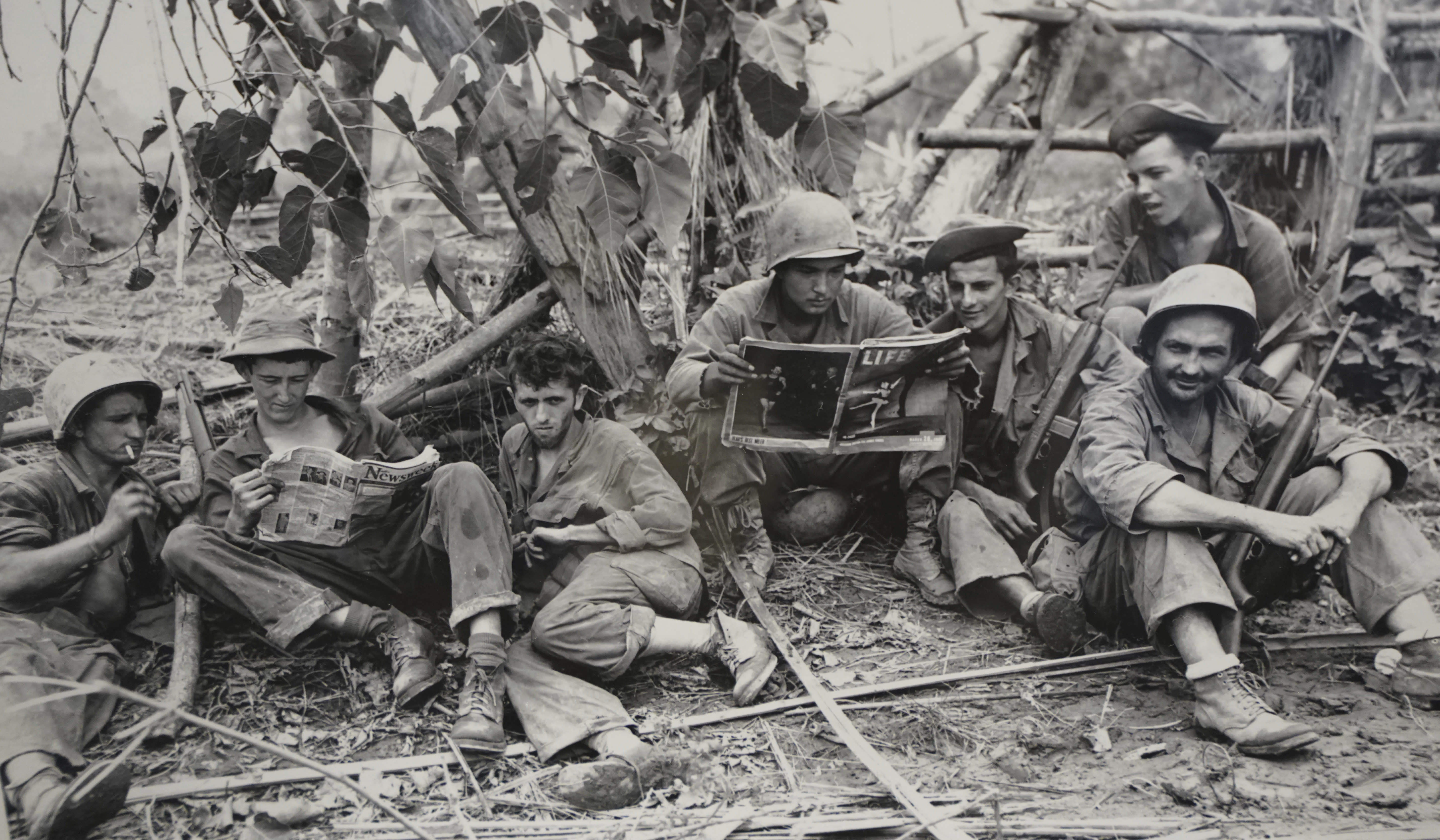 FILE - This Aug. 2, 1944 photo, courtesy of the U.S. Army Signal Corps, shows members of the famed WWII Army unit Merrill's Marauders less than 75 yards from enemy positions, on display during a gathering of remaining members, family and history buffs, in New Orleans. The unit that spent months marching and fighting behind enemy lines in Burma has been approved to receive the Congressional Gold Medal, Congress' highest honor. Nearly 3,000 soldiers began the unit's secret mission in Japanese occupied Burma in 1944. Barely 200 remained in the fight when their mission was completed five months later. (U.S. Army Signal Corps via AP, File)