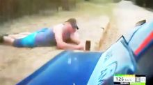 Phone-wielding 'idiot' almost wiped out by rally car