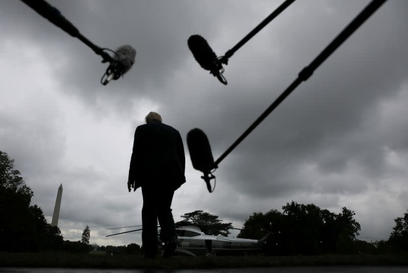 U.S. President Trump walks to Marine One helicopter to depart for a trip to Florida from the White House in Washington