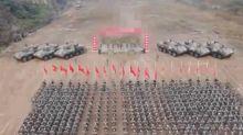 解放軍誓師「 血與火的考驗」打了馬賽克