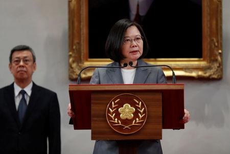 President Tsai Ing-wen speaks to the media, after El Salvador ended diplomatic relations with Taiwan, in Taipei, Taiwan August 21, 2018. REUTERS/Stringer