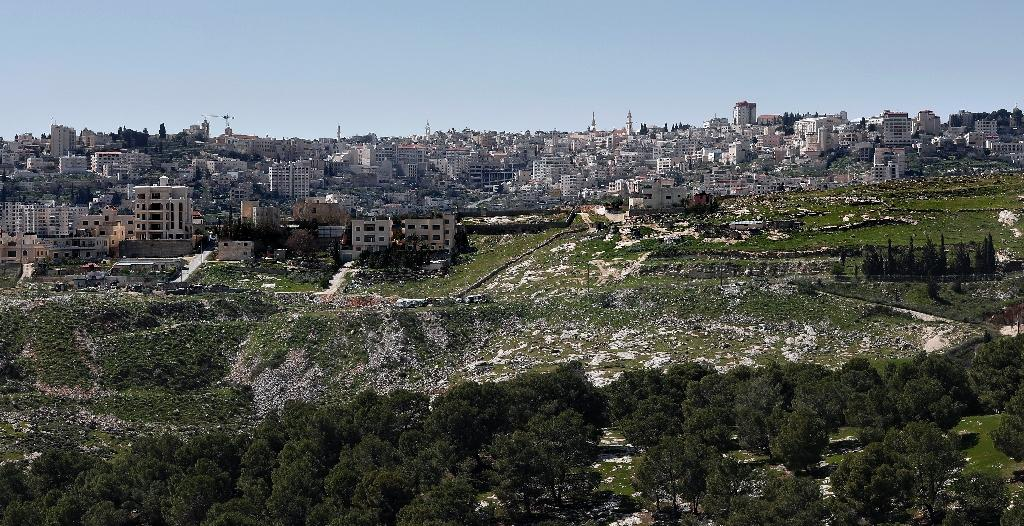 A general view taken from the Israeli settlement of Har Homa on March 7, 2016 shows the West Bank city of Bethlehem