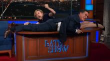 Kate Winslet uses Stephen Colbert's desk to prove she could have saved Jack in 'Titanic'