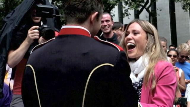 Flash Mob Wedding Proposal Includes Marching Band