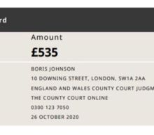 Boris Johnson issued with court judgment over unpaid debt