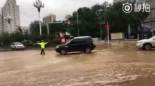 Torrential Rain Causes Flash Flooding in Lanzhou Streets