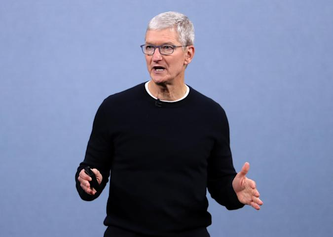 CUPERTINO, CALIFORNIA - SEPTEMBER 10: Apple CEO Tim Cook delivers the keynote address during a special event on September 10, 2019 in the Steve Jobs Theater on Apple's Cupertino, California campus. Apple unveiled several new products including an iPhone 11, iPhone 11 Pro, Apple Watch Series 5 and seventh-generation iPad.  (Photo by Justin Sullivan/Getty Images)