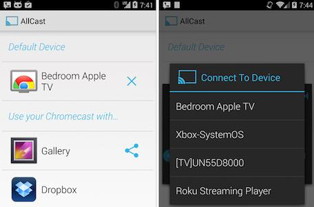 AllCast app allows Android users to stream video to Apple TV
