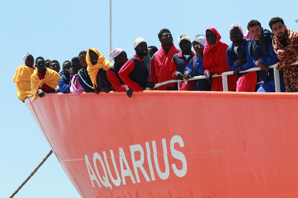 The Aquarius rescue Ship run by NGO S.O.S. Mediterranee and Medecins Sans Frontieres arrives in the port of Salerno on May 26 2017