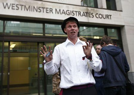 FILE PHOTO - Lauri Love reacts as he leaves after attending his extradition hearing at Westminster Magistrates' Court in London, Britain September 16, 2016. REUTERS/Peter Nicholls