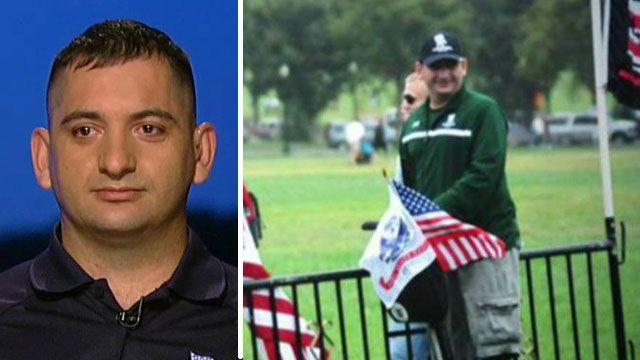Wounded warrior on Segway helps remove memorial barricade
