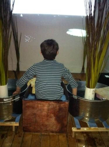 Water buckets and rocking chair become spiffy interactive art projects (video)