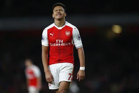 Arsenal's Alexis Sanchez reacts