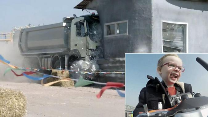 Watch a 4-year-old drive a dump truck by remote control