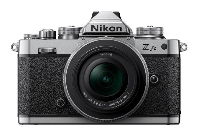 The Nikon Z FC camera seen from head on.