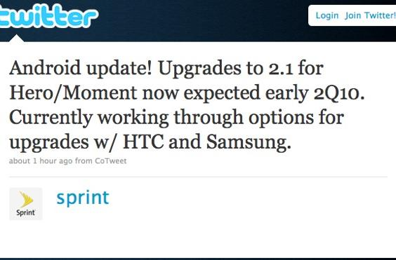 Sprint: Android 2.1 update for Hero, Moment coming in early Q2