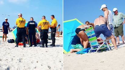 Woman impaled by beach umbrella in freak accident