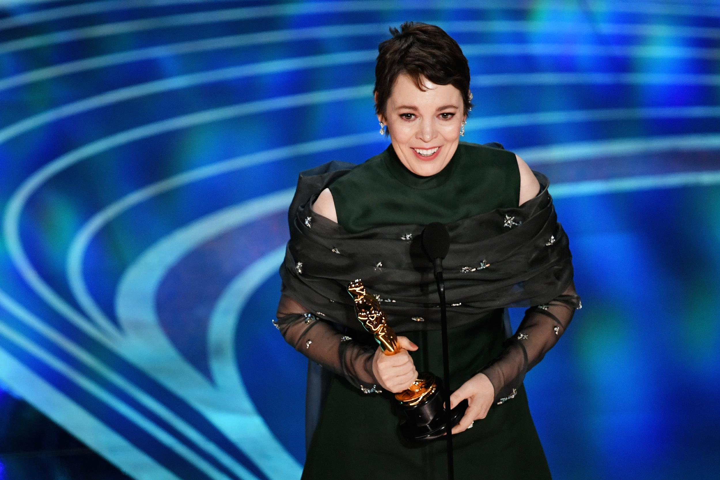 HOLLYWOOD, CALIFORNIA - FEBRUARY 24: Olivia Colman accepts the Actress in a Leading Role award for 'The Favourite' onstage during the 91st Annual Academy Awards at Dolby Theatre on February 24, 2019 in Hollywood, California. (Photo by Kevin Winter/Getty Images)