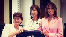 Melania Trump wears a $1,045 hot pink suit at the Senate Spouses Luncheon