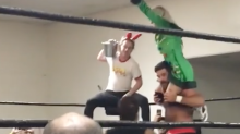 Actor Macaulay Culkin Shows Off 'Home Alone' Moves at California Wrestling Match