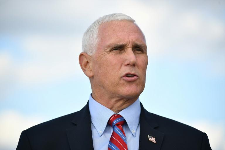 US Vice President Mike Pence flew to Salt Lake City, Utah on October 5, 2020 two days before he faces off with Democratic vice presidential nominee Kamala Harris in their debate there