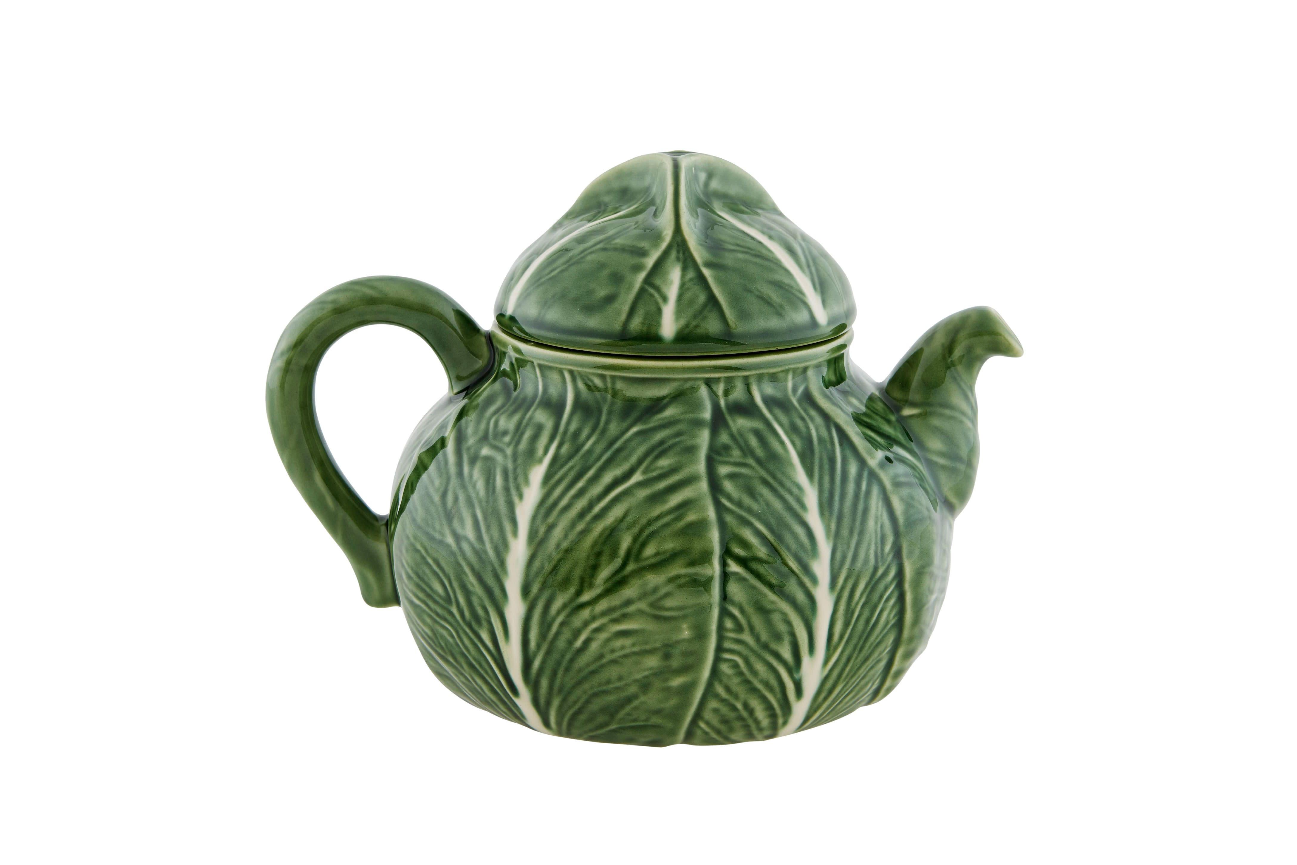"<strong>Bordallo Pinheiro</strong> Cabbage teapot; $116. <a href=""https://us.bordallopinheiro.com"" rel=""nofollow noopener"" target=""_blank"" data-ylk=""slk:bordallopinheiro.com"" class=""link rapid-noclick-resp""><em>bordallopinheiro.com</em></a>"