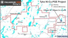 Palladium One Reports Highly Anomalous Nickel and Copper in Soil Sampling on the Tyko Ni-Cu-PGE Property, Canada