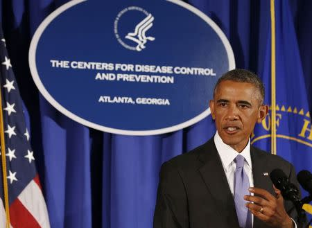 U.S. President Barack Obama speaks at the Centers for Disease Control and Prevention in Atlanta, Georgia, September 16, 2014. REUTERS/Larry Downing
