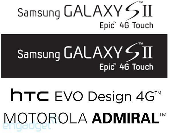 Leakster names Sprint's latest: Samsung Epic 4G Touch, HTC EVO Design 4G, and Motorola Admiral