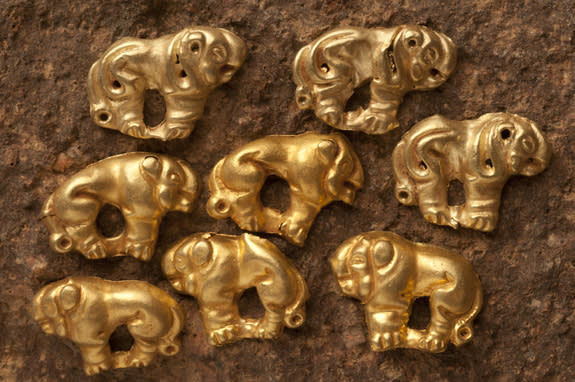 Treasures found at the ancient Scythian cemetery, located about 6 miles (10 kilometers) away from the nomadic warrior's grave.