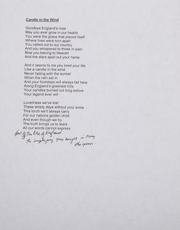 Candle in the Wind' Diana lyrics head for auction