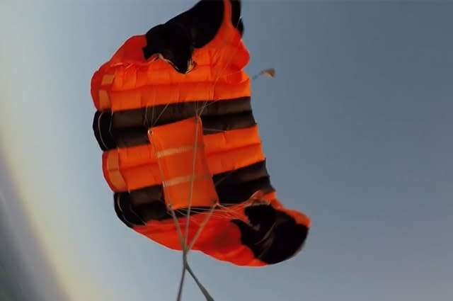 Terrifying moment UK skydiver deploys back up parachute after malfunction at 4,000 feet