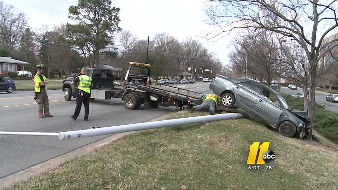 Car Crashes Into Power Pole