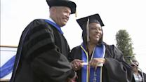 Mom, son, daughter graduate college together