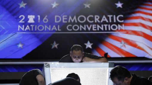 A female nominee breaks ground, but good luck finding a tampon at the DNC