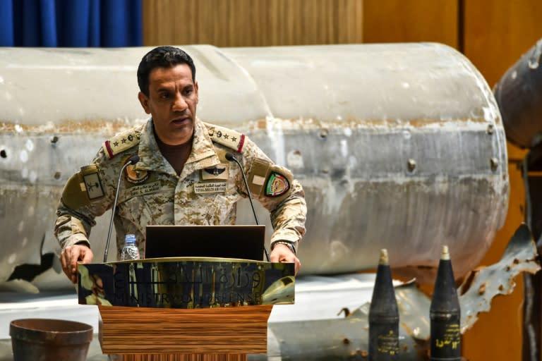 Saudi air force Colonel Turki bin Saleh al-Malki gives a press conference in Riyadh after air strikes on the rebel-held Yemeni capital (AFP Photo/FAYEZ NURELDINE)