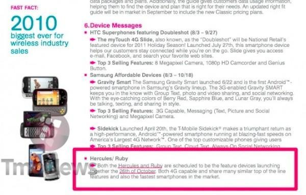 Samsung Hercules, HTC Ruby available from T-Mobile on October 26th?