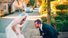 Bearded buddy trades places with bride in hilarious 'first look' wedding prank