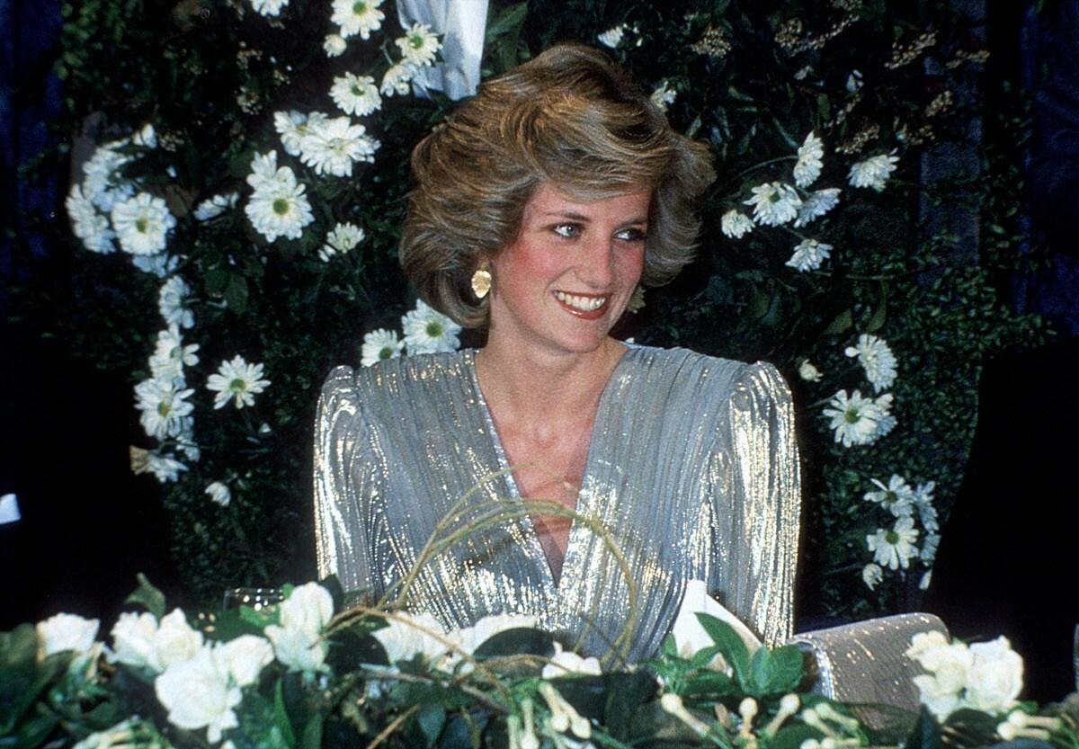 Princess Diana in a stylish evening gown.