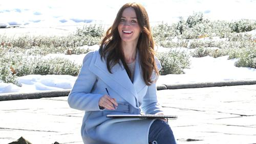 Emily blunt glows on the set of girl on the train following
