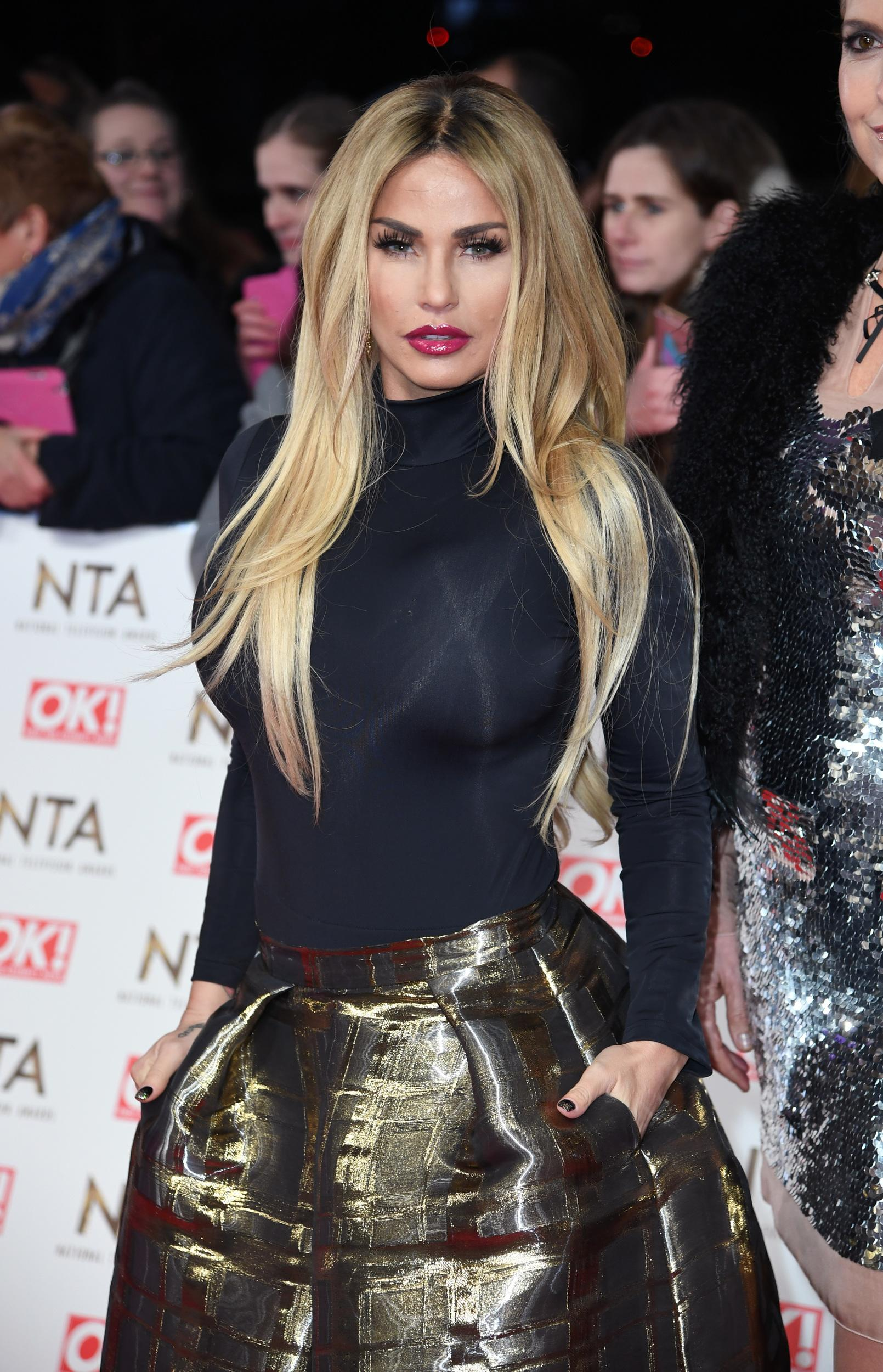 Katie Price attending the National Television Awards 2017 held at the O2, London. Photo credit should read: Doug Peters/EMPICS Entertainment