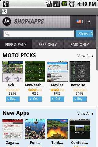 Motorola's Shop4apps online Android app store discovered
