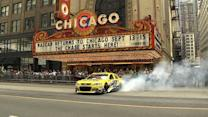 Dale Jr. burnouts in downtown Chicago